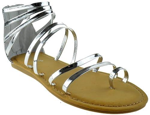b46909cb3 Amazon.com | BAMBOO Made 30S Womens Strappy Metallic Swirl Gladiator Rose  Gold | Sandals