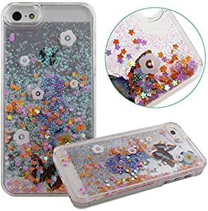 Eforcase Cute iPhone 5S Shiny Case for Girls and Women,iPhone 5 5S Funny Hard Case Cover,3D Aquarium Moving Butterfly Love Case for iPhone 5 5S,Unique Flowing Butterfly Flowers Clear Case for iPhone 5S (Flowing Case E) by shannon fry