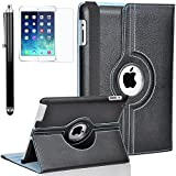 Zeox New iPad 9.7 inch 2017 / iPad Air Case - 360 Degree Rotating PU Leather Stand Protective Cover with Smart Auto Wake/Sleep for Apple New iPad 9.7 inch 2017/ iPad Air, Black