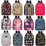 17 Inch Wholesale Classic Padded Backpacks in 8 to 12 Randomly Assorted Unique Prints - Bulk Case of 24 Bookbags