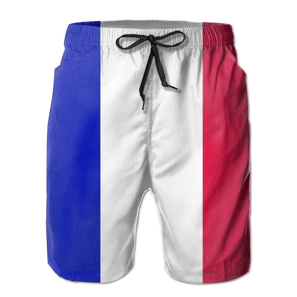 JUTOU France Flag Swim Trunks For Men