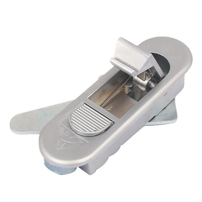 eDealMax 83 mm Longitud de empuje del botón del metal Pop Up Plano Tipo de bloqueo de seguridad del tono de plata - - Amazon.com