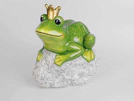 Dekofigur Froschkönig mit silberner Krone H 20cm weiß silber Formano WA