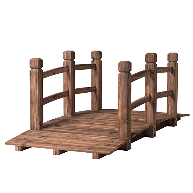 Gartenbrücke Holzbrücke Gartendeko Teichbrücke 140x60x56cm Doppelgeländer Holz