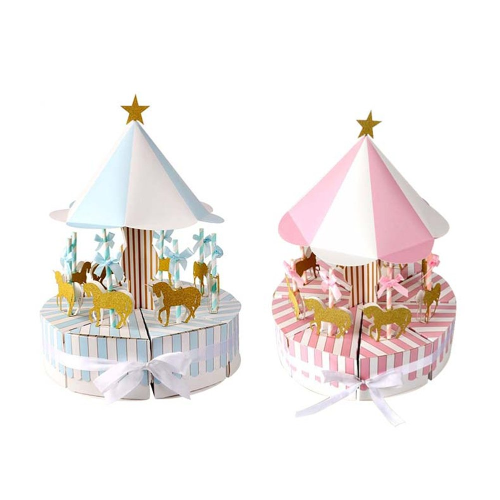 Sue Supply Caja romántica de carousel para dulces, regalos y regalos, recuerdo para invitados, fiestas, regalos, caja de caramelo, banquete de boda (azul y rosa)