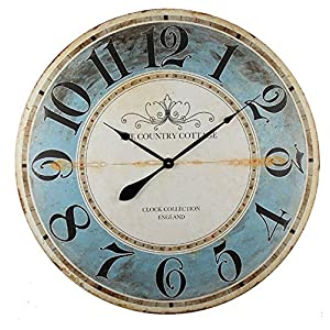 Alice's Collection – Grande Reloj de pared – Vintage – Madera MDF, dia 80 cm