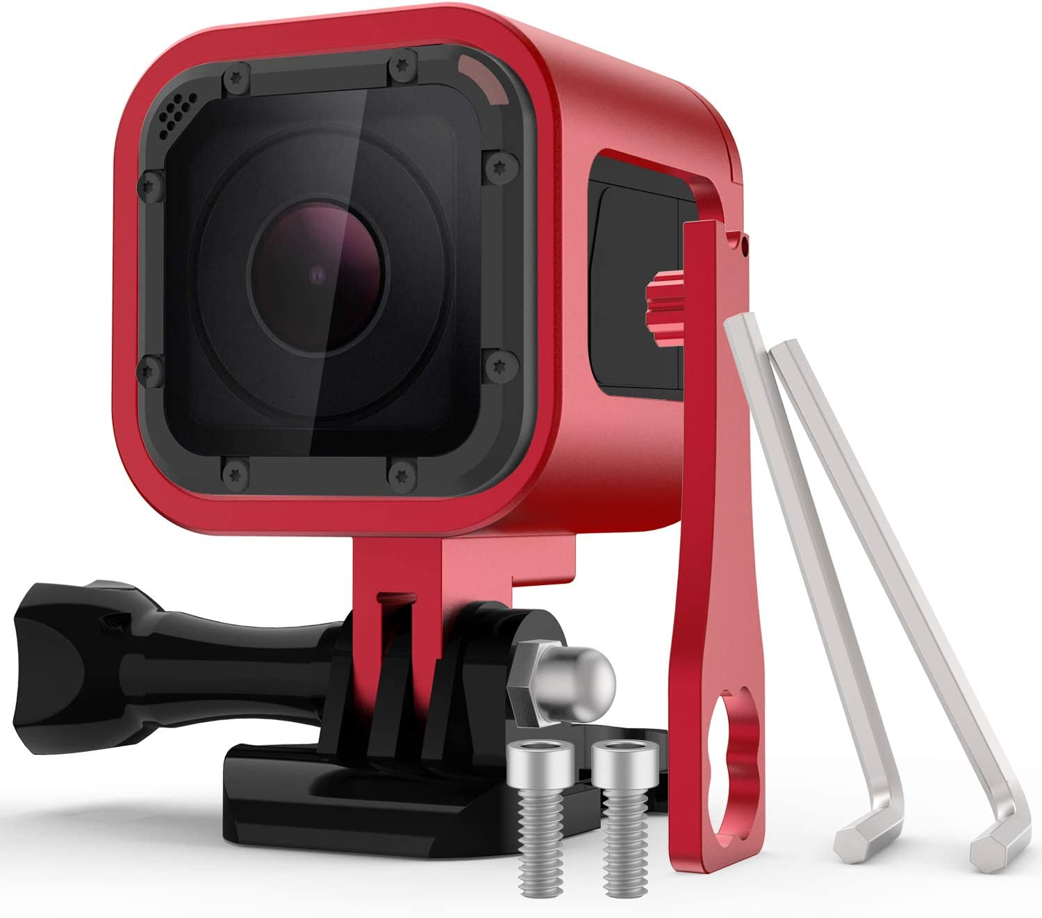 Nechkitter Aluminum Frame Housing Case for GoPro Hero 5 Session / 4 Session/Hero Session, CNC Aluminum Alloy Solid Protective Case with Wrench –Red