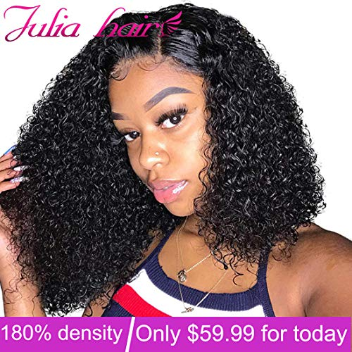 Julia Hair Short Curly Bob Wig 13x4 Lace Front Human Hair Culy Wigs 180% Density,Pre Plucked with Baby Hair Malaysian Virgin Curly Hair Wigs Natural Black Color 8inch (The Best Malaysian Hair)