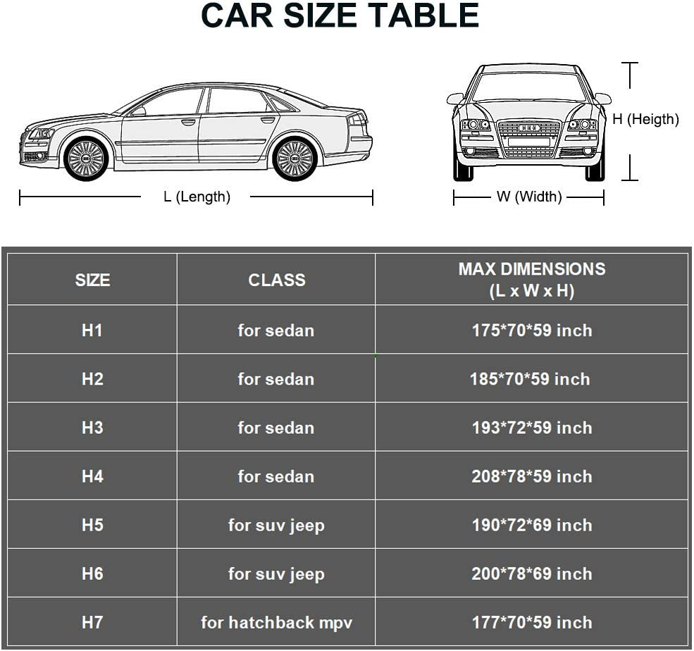 Outdoor Sun Uv Rain Protection Up to 177 Inch Fit Hatchback Kayme Car Cover Waterproof All Weather with Lock and Zipper