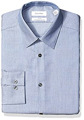 Calvin Klein Men's Dress Shirts Non Iron Slim Fit Stretch Woven Circle
