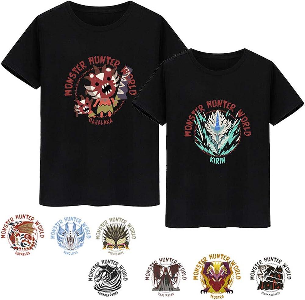 LGXXX Chasseur De Monstre T-Chemise,Monster Hunter World Short Sleeves Cosplay Costume pour Les étudiants Game Fans Teen Automne Été Z