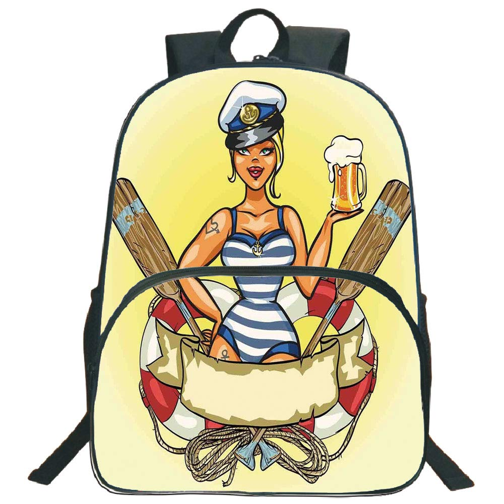 Girls 3d print 16 backpackspin up sexy sailor girl lifebuoy with captain hat and costume glass of beer feminine3th 4th 5th grade school bookbags travel