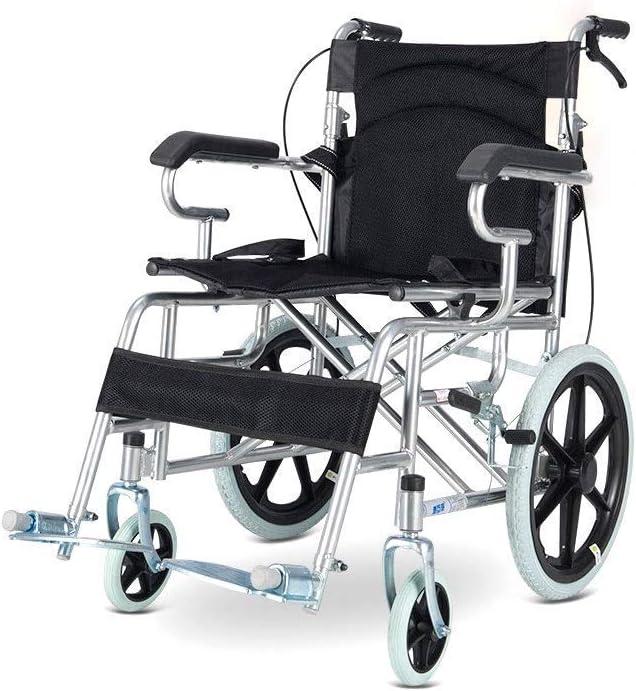 CHAIR Silla de ruedas para los hombres; Mujeres - Peso ligero plegable silla de ruedas manual portátil con llantas sólidas, el cinturón de seguridad; Los frenos de mano cómodo