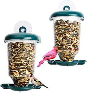 Solution4Patio Expert in Garden Creation #G-B126A00-US 2 Pack Window Bird Feeder, Plastic Clear View, Refillable Sliding Tray, Strong Suction Cup, Easy to Clean, Squirrel Proof and Weather-Proof