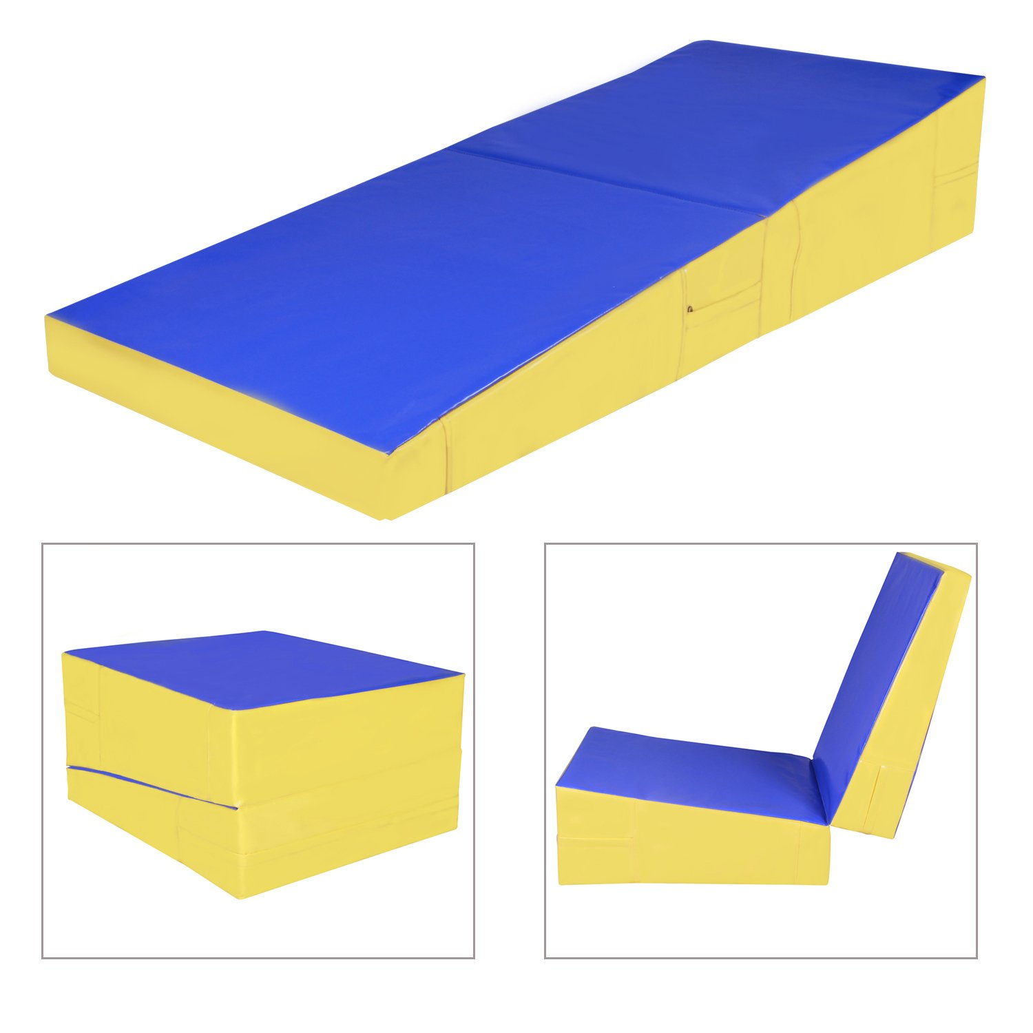 sports gymnastics mat outdoors blue stretching folding yoga dp aerobics for exercise cheer gym com mats amazon home