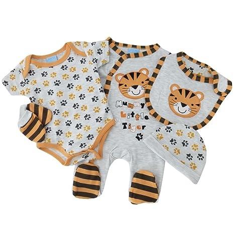 5 piezas Joven Set Tiger gris naranja Body, Pelele, gorro, peto, guantes