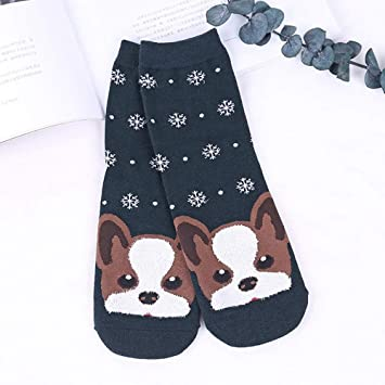SIKESONG Cartoon Animal Lindo Patrón Animal Print Snowflake Happy Socks Niñas Otoño E Invierno Caliente Caliente Ventilado (5 Pares De Calcetines De ...