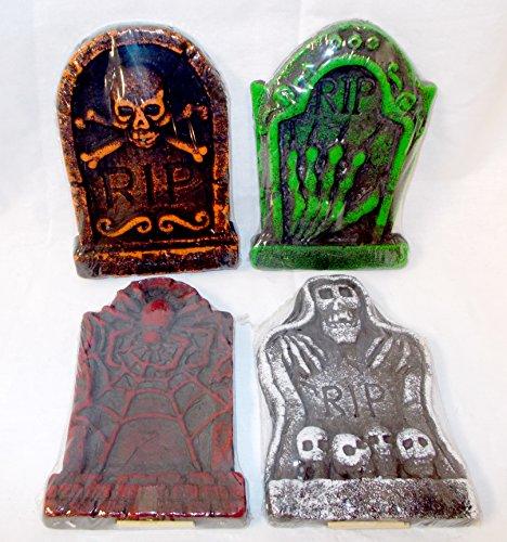 (Halloween Styrofoam Tombstones RIP Skeleton Hand Spider Skulls Crossbones Lot 4 NIP)