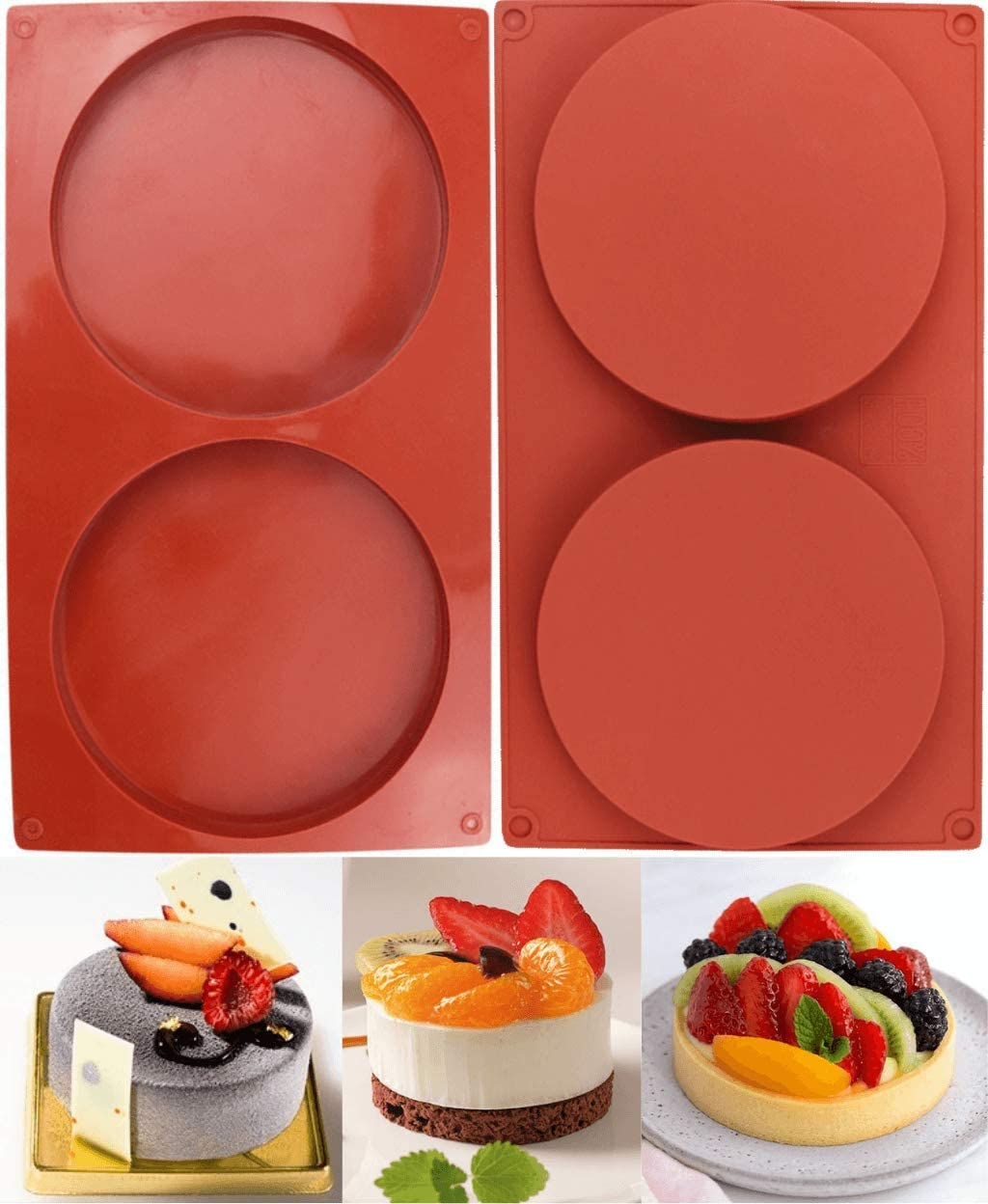 LARGEST! 2-Pack Silicone Mold Discs - Food Grade Biscuit Mold Set - Large 2 Holes Round Cylinder Chocolate Mold for Cookie Candy Jelly Pudding Cake Pie Tart Muffin Sandwiches Eggs Soap and More