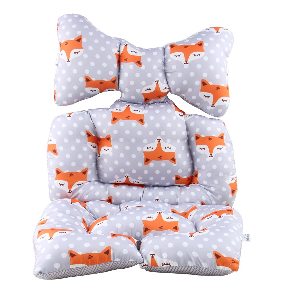 Amazon Com Infant Car Seat Insert Kakiblin Cotton Baby Stroller Liner Head And Body Support Pillow Infant Seat Pad Carseat Neck Support Cushion For Toddler Fox Baby