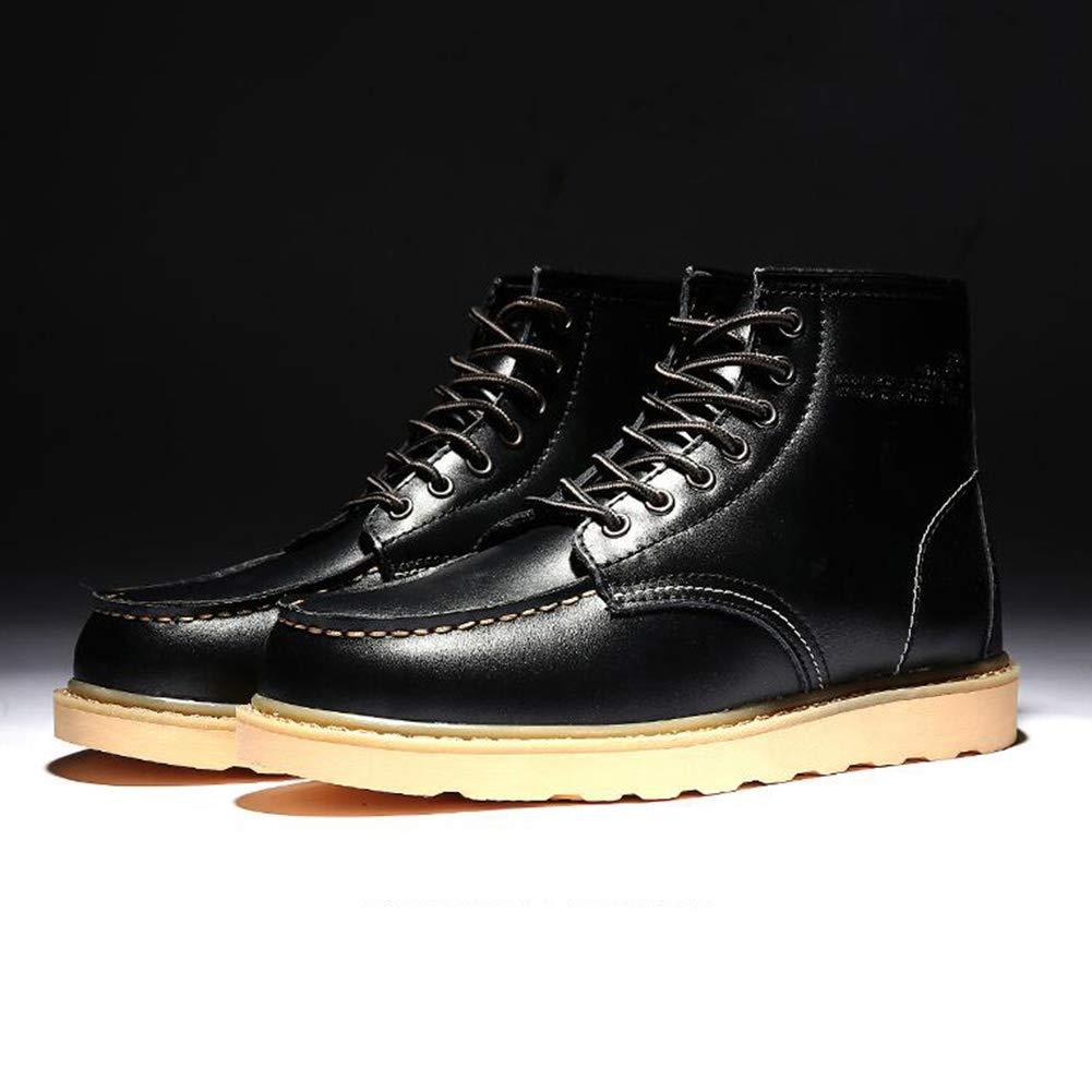 ABC YIXINY LAB-0027 Herren PU-Schuhe für Herbst und Winter, sportliche Schuhe, Martin-Stiefel, Werkzeugschuhe, Rot Orange Schwarz (Farbe  Orange, Größe  EU39 UK6 CN39)