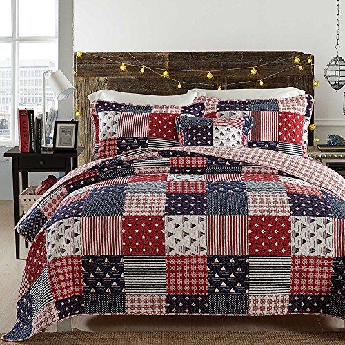 Brandream Nautical Bedding Set Ocean Themed Patchwork Quilt Set Soft 100% Cotton Bedding Luxury Light Comforter Set Queen (Everything Nautical)