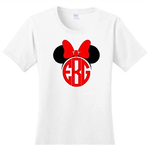 686f79f7 Amazon.com: Personalized Monogrammed Family Disney Mickey or Minnie Mouse  with Bow T-Shirt - Toddler, Youth, and Adult Sizes: Handmade