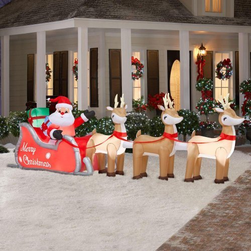 Outdoor Lighted Christmas Santa Reindeer Decoration - 8