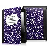 Fintie SmartShell Case for Kindle Voyage - [The Thinnest and Lightest] Protective PU Leather Cover with Auto Sleep/Wake for Amazon Kindle Voyage (2014), Composition Book Navy