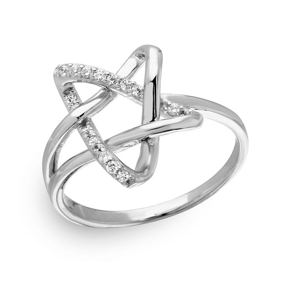 Clear Cubic Zirconia Intertwined Star Ring Rhodium Plated Sterling Silver Size 8