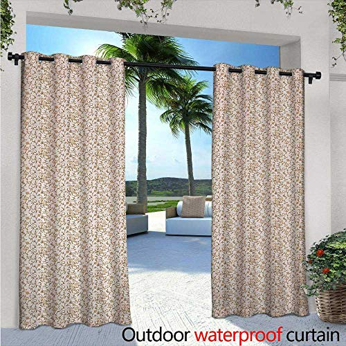 - Antique Outdoor Privacy Curtain for Pergola Vintage Paisley Style Flowers Swirled Stems Blooming Daisies Royal Scroll Thermal Insulated Water Repellent Drape for Balcony W108 x L84 Beige Brown Cara