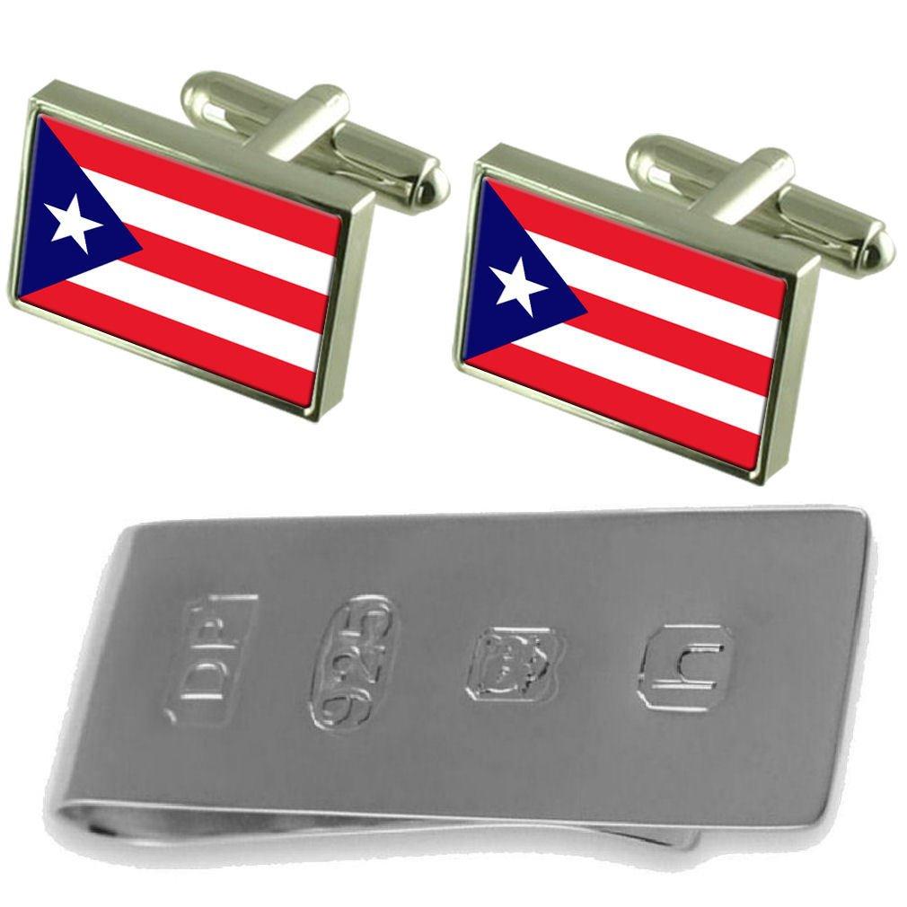 Select Gifts Puerto Rico Flag Cufflinks /& James Bond Money Clip