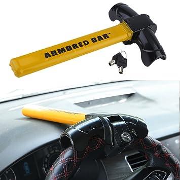 KinshopS Anti Theft Lock Safety Auto antirrobo Volante Garra Barrera Barra Steering Wheel Lock wegfahr Bloqueo de Amarillo: Amazon.es: Coche y moto