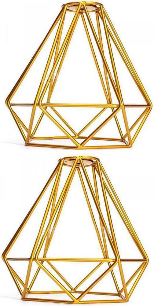 Amarillo CUHAWUDBA Caja de lampara luz de techo pendiente de forma de diamante de metal vintage Decoracion pantalla de lampara