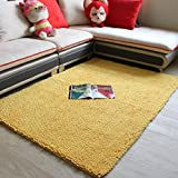Wolala Home™Chenille Living Room Area Rug Yellow Flexible Modern Carpet Non-Slip Floor Rug / doormat / floor mat / kitchen Area Rug (2'6x5'3, yellow)