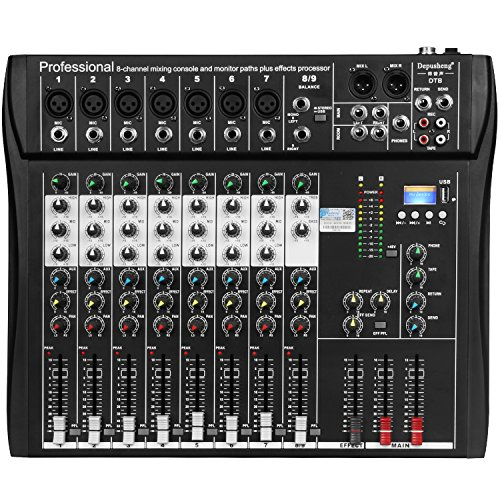 Depusheng DT8 Professional 8 Channel DJ Sound Mixing Console with Bluetooth and 48V Phantom Power USB ()