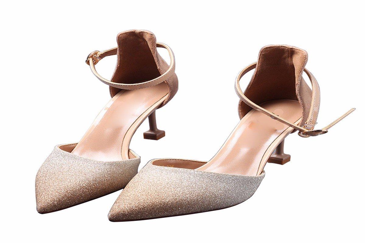 GTVERNH Damenschuhe aus Einzelnen Einzelnen aus Schuh Am Gürtel Elegant und Schlank 7Cm Hochhackigen Schuhe Im Frühjahr und Herbst Pailletten Haben Schuhe. a2d982