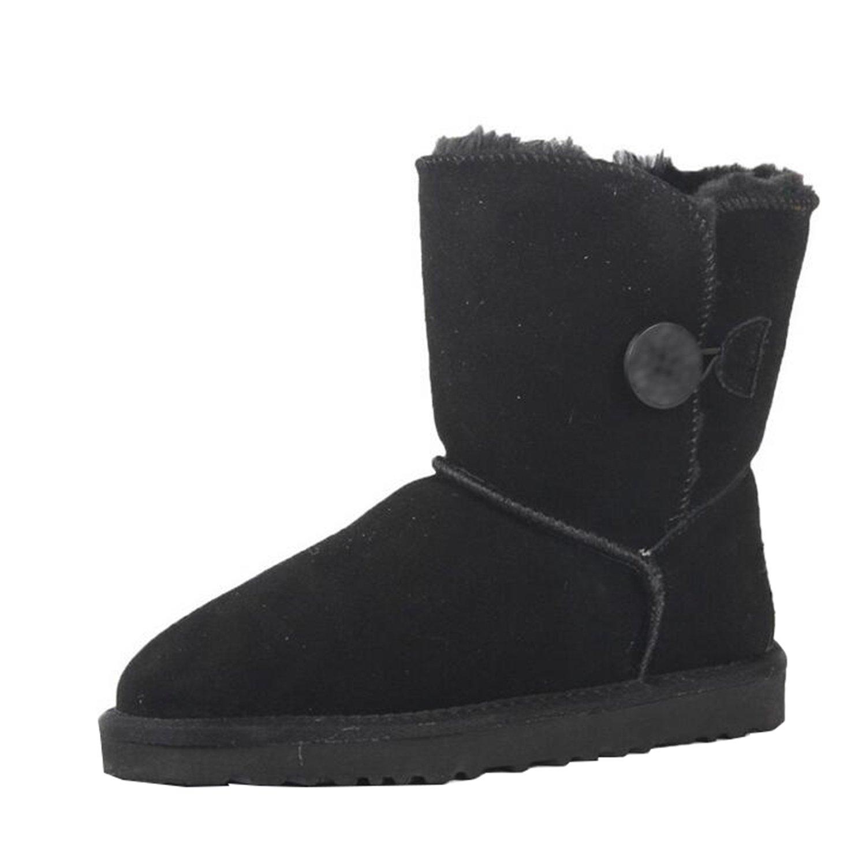 Frauen warme gefütterte Knöchel-Schnee-Stiefel-Mädchen-Winter-nette einzelne Knopf-Stiefel