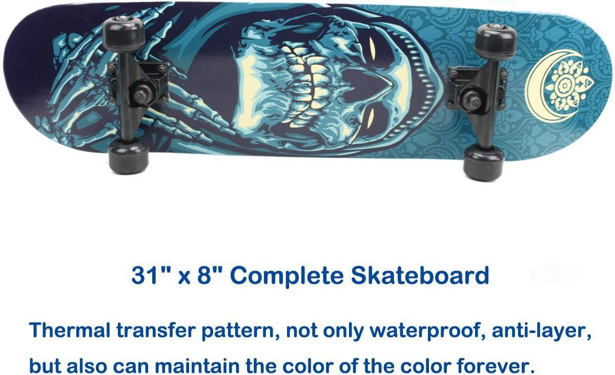 Eseewin Skateboard 7 Layers Decks 31x8 Pro Tabla de Skate Completa Maple Wood Longboards para Adolescentes Adultos Principiantes Ni/ñas Ni/ños