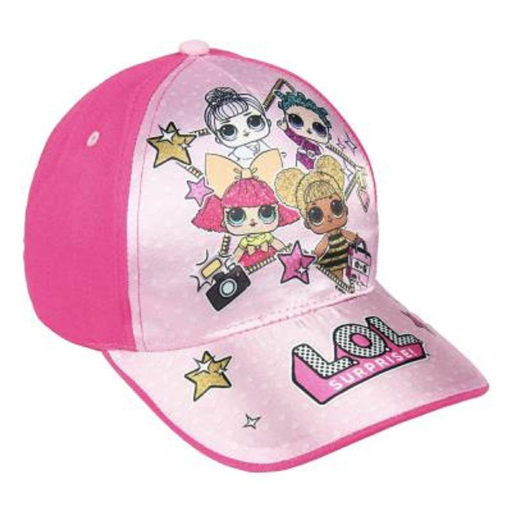 Official Product Surprise L.O.L Girls Premium Baseball Cap for Summer Kids Sun Hats with LOL Dolls in Pink Blue Sparkly Glitter
