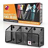 EDENBAZAAR Large Magnetic Pencil and Pen Holder, 3 compartnets Magnetic Storage Organizer for Whiteboard, Refrigerator, Locker Accessories, Lifetime Replacement