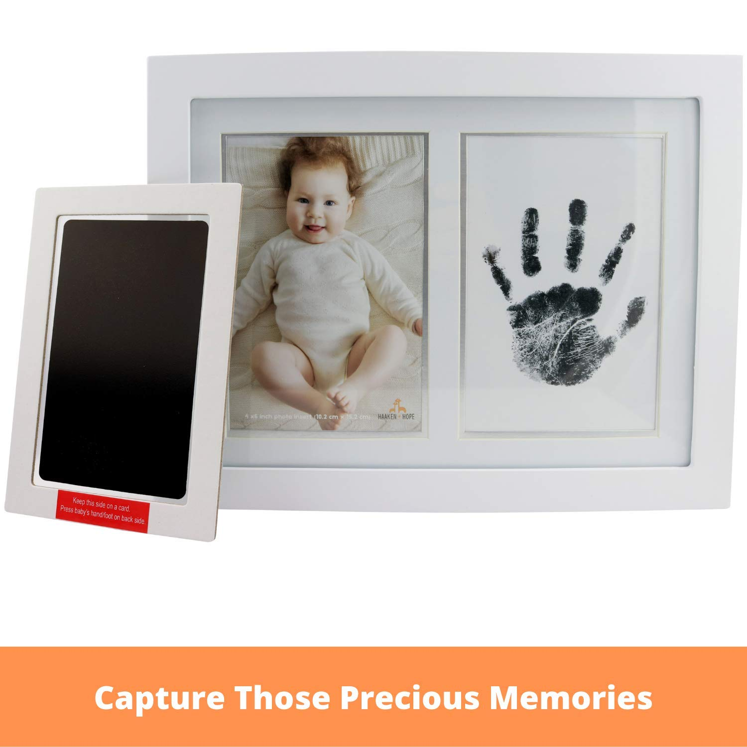 Black 4 Imprint Cards Inkless Mess Free Newborn Baby Hand and Footprint Kit Great Baby Shower Gift Idea Baby Footprint Kit 2 Extra Large 4 x 6 Ink Pad