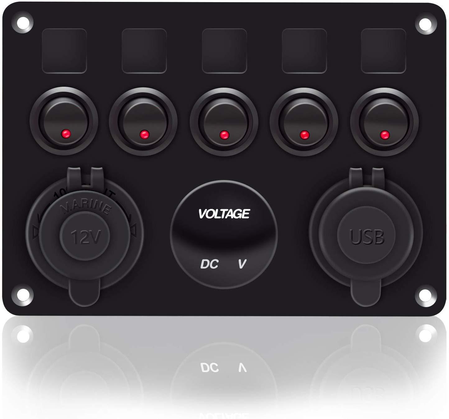 5B rosso voltmetro per veicoli nautici camper veicoli camion 12-24V LED blu impermeabile Pannello interruttori a bilanciere a 5 bande con doppia presa USB 5V 4.2A accendisigari