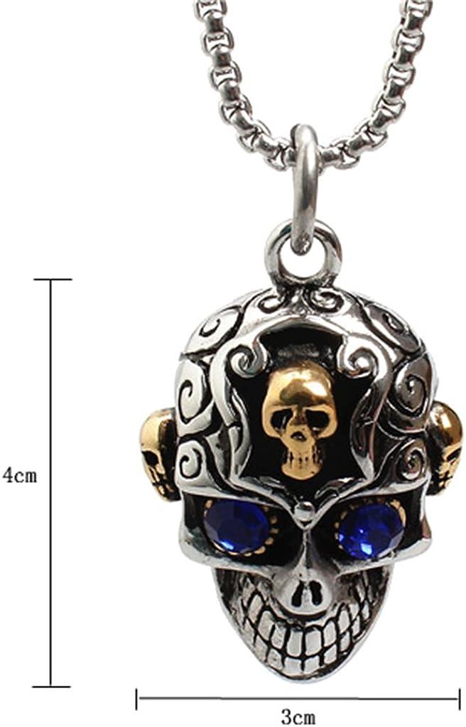 Bonarty 316L Stainless Steel Skull Head Skeleton Pendant Biker Mens Punk Jewelry