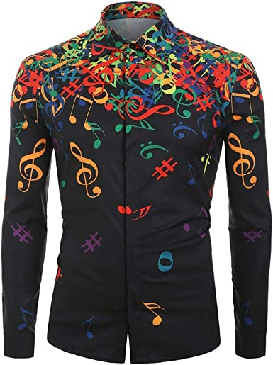 Men Button Down Shirts Long Sleeve Slim Fit Musical Note Pattern Comfortable Workout Autumn Blouse Tops