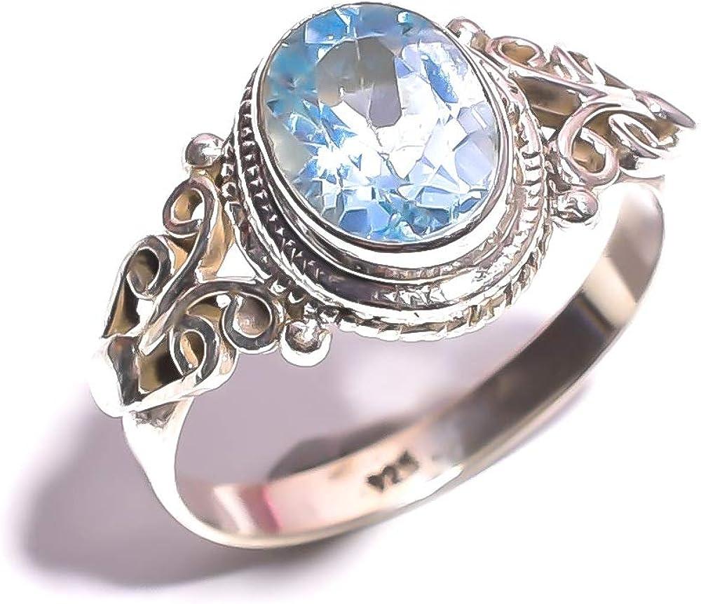 mughal gems & jewellery - Anillo de Plata de Ley 925 con topacio Azul Natural y Piedra Preciosa (tamaño 7.5 U.S)