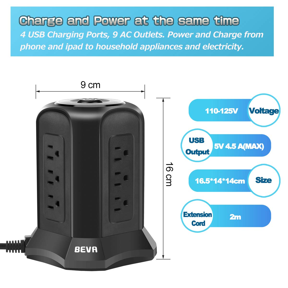 BEVA Power Strip Tower with 9 AC-Outlets and 4 USB Charging Ports Switch Control,Surge Protector Desktop Power Strip Charging Station 6 ft Extension Cable for Office and Home Black by heying (Image #2)