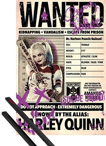 1art1 Poster + Hanger: Suicide Squad Poster (36x24 inches) Harley Quinn Wanted and 1 Set of Black Poster Hangers
