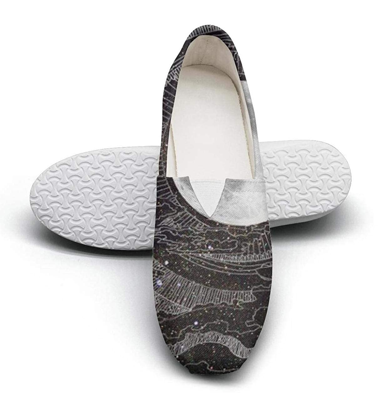 nkfbx Mystic Moon and Star Casual Slip-On Canva Shoes for Women Walking