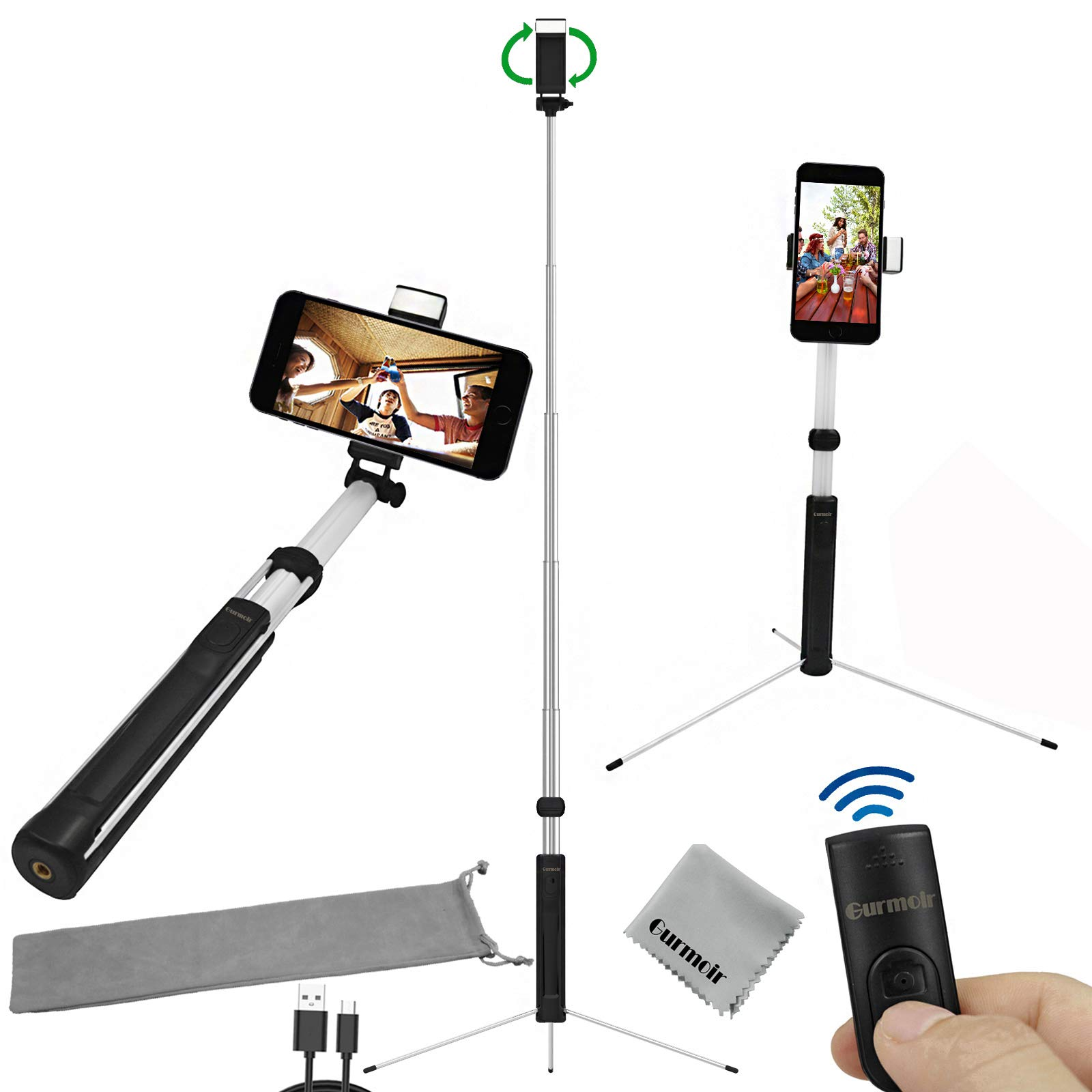 Gurmoir 60inch Extendable Bluetooth Selfie Stick Tripod Stand with Wireless Remote with Fill Light for iPhone 8 Plus/8/7/6 Plus/XS/XR/XS MAX/Galaxy S9/S9 Plus/Note 8/S8/S8 Plus and More Mobile Phone